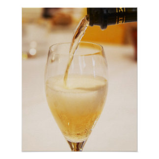 A champagne glass flute being filled with Gosset Poster