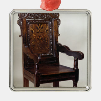 A Charles I armchair, mid 1600s Silver-Colored Square Decoration