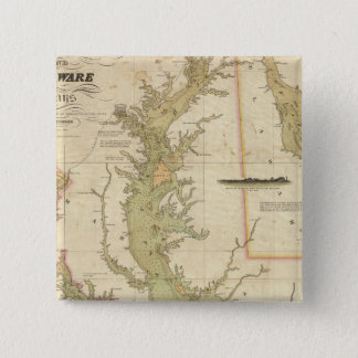 A Chart of the Chesapeake And Delaware Bays 15 Cm Square Badge
