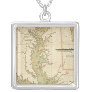 A Chart of the Chesapeake And Delaware Bays Silver Plated Necklace