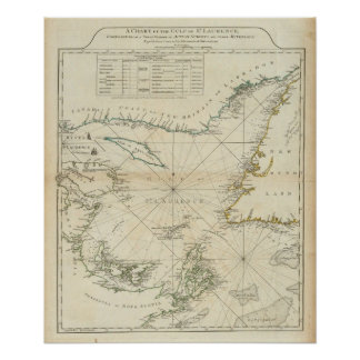 A Chart Of The Gulf Of St Lawrence Poster