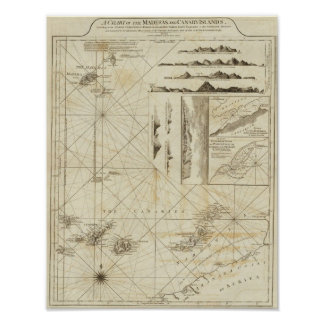 A chart of the Maderas and Canary Islands