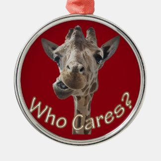 A cheeky Giraffe with attitude Christmas Ornament