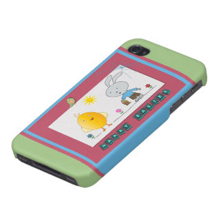 A Cheerful Easter, Cute Chicken and Bunny, Case Case For The iPhone 4