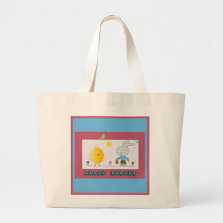 A Cheerful Easter, Cute chicken and Bunny Large Tote Bag