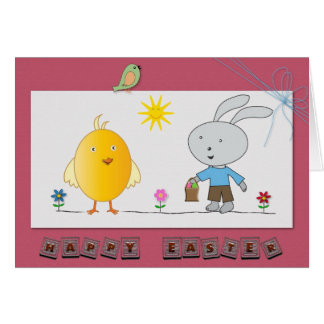 A Cheerful Easter, Cute Chicken & Bunny - Card