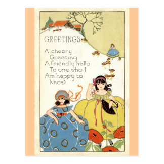A Cheery Greeting Repro Vintage 1913 Postcard