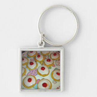 A Cherry Bakewell Tart Silver-Colored Square Key Ring
