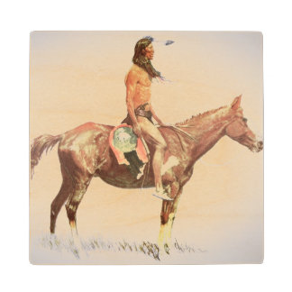 A Cheyenne Brave, 1901 (colour litho) Maple Wood Coaster