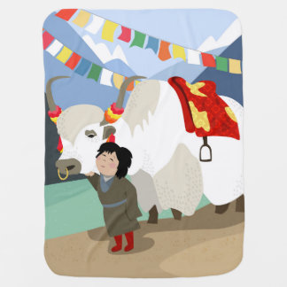 A child and best friend pet Tibetan yak colorful Baby Blanket