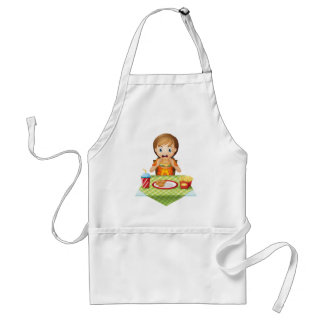 A child eating at a fastfood restaurant aprons