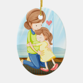 A child hugging her mother christmas ornament