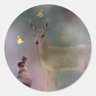 A child s forest fantasy round stickers