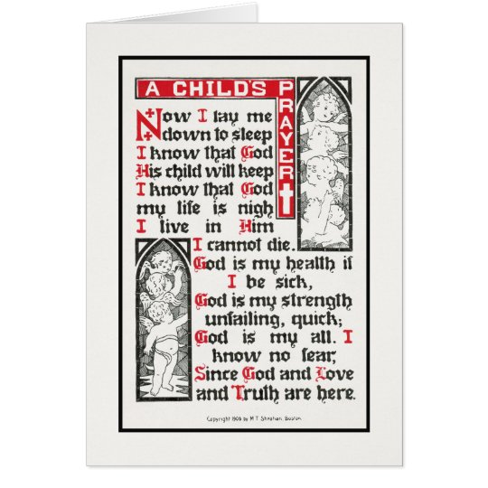A Child's Prayer: Now I lay me down to sleep Card