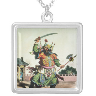 A Chinese Comedian Silver Plated Necklace