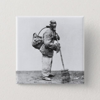 A Chinese day labourer, c.1870 (b/w photo) 15 Cm Square Badge