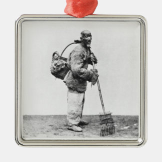 A Chinese day labourer, c.1870 (b/w photo) Christmas Ornament