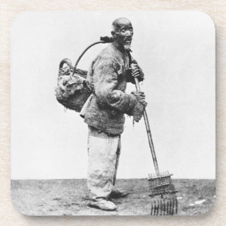 A Chinese day labourer, c.1870 (b/w photo) Drink Coasters
