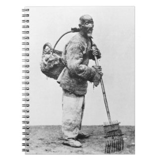 A Chinese day labourer, c.1870 (b/w photo) Notebook