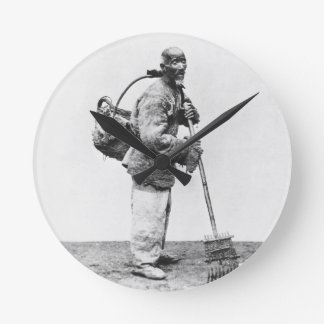 A Chinese day labourer, c.1870 (b/w photo) Round Clock
