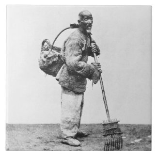 A Chinese day labourer, c.1870 (b/w photo) Large Square Tile