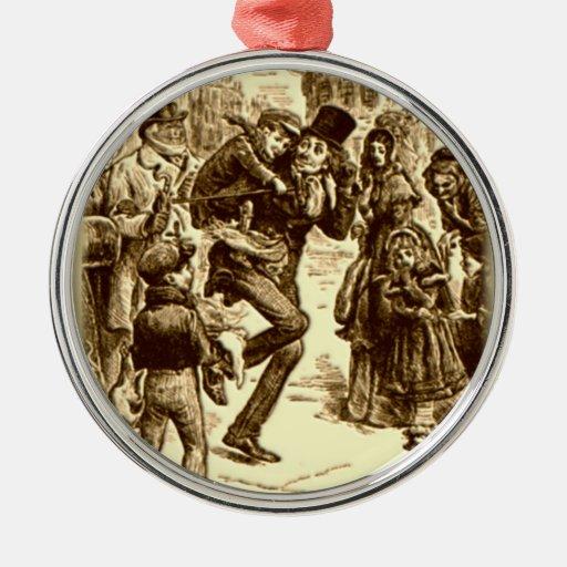 A Christmas Carol - Tiny Tim Silver-Colored Round Decoration