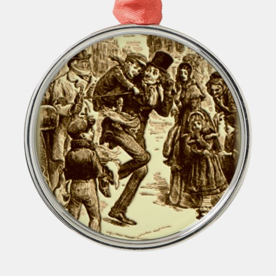 A Christmas Carol - Tiny Tim Silver-Colored Round Decoration