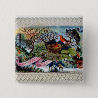 A Christmas Greeting, Victorian postcard 15 Cm Square Badge