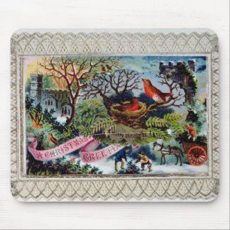 A Christmas Greeting, Victorian postcard Mouse Mat