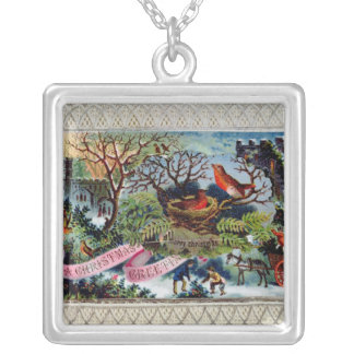 A Christmas Greeting, Victorian postcard Silver Plated Necklace