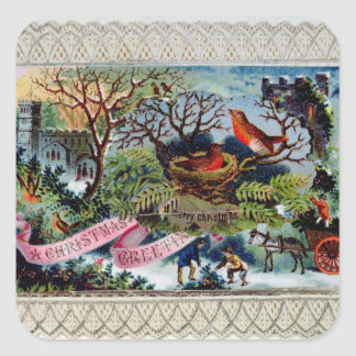 A Christmas Greeting, Victorian postcard Square Sticker