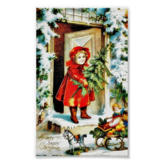 A christmas greeting with a baby holding christmas posters
