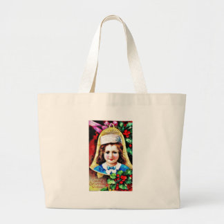 A christmas greeting with a child photo in the bel bags