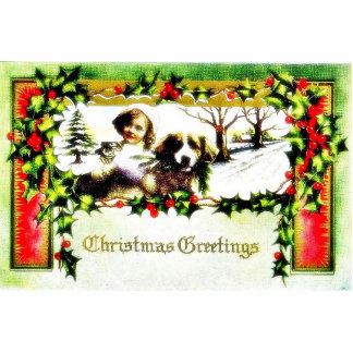 A christmas greeting with a girl and a dog standing photo sculpture