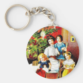 A christmas greeting with the mother around her ch keychains