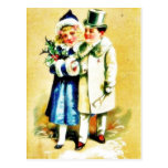A Christmas greeting with young couples walking by Post Cards
