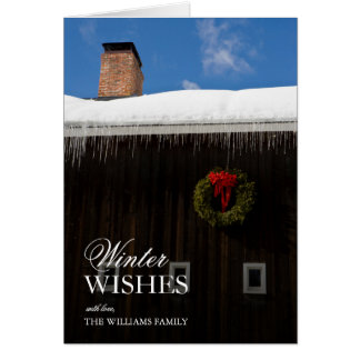 A christmas wreath on a barn in Grafton, Vermont. Card