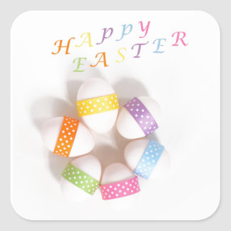 A Circle of Decorated Easter Eggs Square Sticker