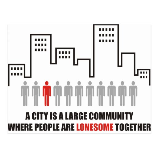 A city is a large community with lonesome together postcards