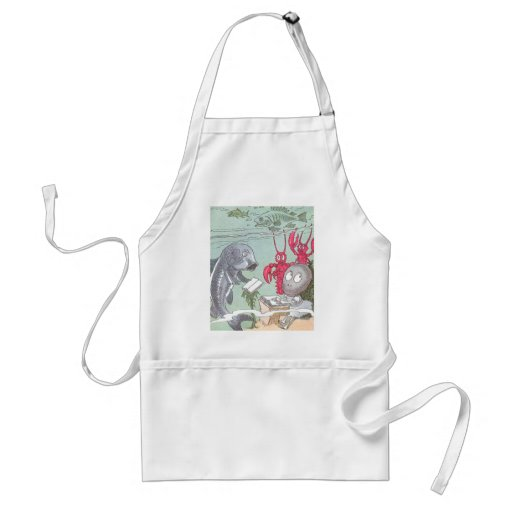 A Clam at School with Fish & Lobsters Aprons