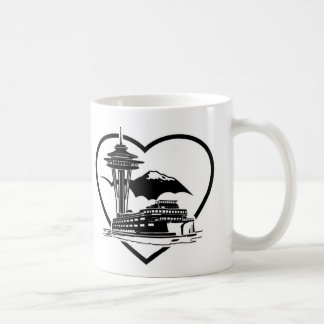 A classic mug with a design that depicts Seattle