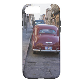 A classic old red Peugeot car parked on a street iPhone 8/7 Case
