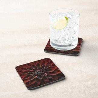 A Close Up of a Dark Burgundy Dahlia Flower Drink Coasters