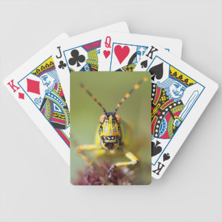 A close-up of an Elegant Grasshopper Bicycle Playing Cards