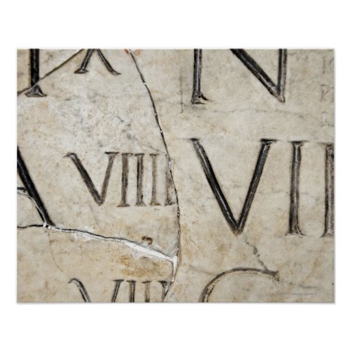 A Close Up Of Ancient Roman Letters On Marble Poster