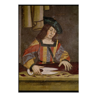 A Cloth Merchant Cutting Cloth Poster