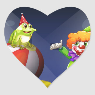A clown and a frog performing on stage heart sticker