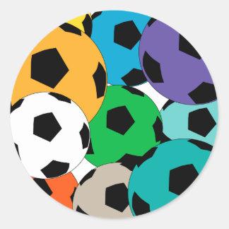 A cluster of soccer balls sticker