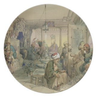 A Coffee House, Constantinople, 1854 (pen & ink & Party Plates