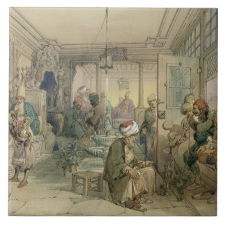 A Coffee House, Constantinople, 1854 (pen & ink & Tile
